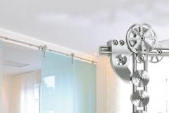 Porta de vidro temperado com aço inox - SPIDER