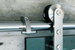 Porta de vidro temperado com aço inox - Elite